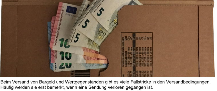 Bargeldversand via Wertbrief